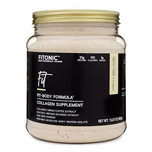 FiTONIC Vanilla and Lucuma Collagen Protein Powder | Best Tasting Whey Protein Powder for Women | Gluten, Soy, and RBST-Free Workout Recovery Shake | Paleo Recovery Formula Packed with Superfoods