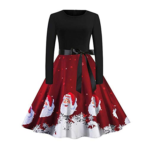 Christmas Womens Vintage Santa Claus Printed Swing Dress with Belt Ladies Long Sleeve Evening Party Dress