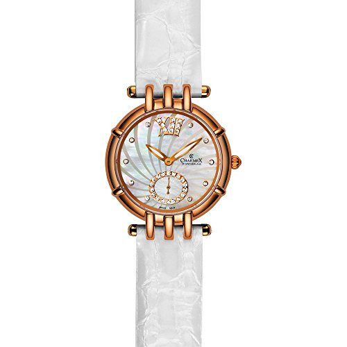 Charmex Pisa 6125 31mm Gold Plated Stainless Steel Case White Calfskin Synthetic Sapphire Women's Watch