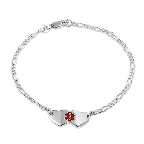 - Heart Shape Medical Identification Doctors Engravable Medical Alert ID Bracelet For Women For 925 Sterling Silver
