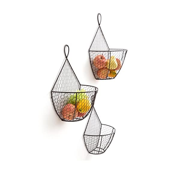 Wall Mounted Brown Metal Fruit Vegetable Baskets, Chicken Wire Hanging Produce Bins, Set of 3 - A decorative and convenient way to store produce. Features a chicken wire design ideal for storing and keeping fruits and produce fresh. Also suitable for storing small toys, shop rags, gloves, mittens, hats, towels, and more. - wall-shelves, living-room-furniture, living-room - 41Oaasm9zeL. SS570  -