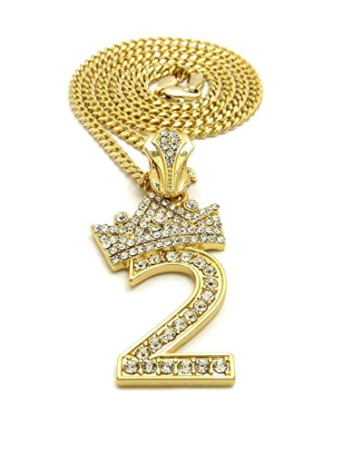 "MENS ICED OUT NUMBER 1 TO 9 PENDANT 3mm/ 24"" CUBAN CHAIN NECKLACE (2 - Gold)"