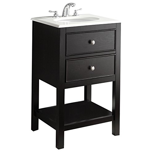 - Simpli Home WILM-BL-20 Wilmington 20 inch Contemporary Bath Vanity in Black with Bombay White Engineered Quartz Marble Top
