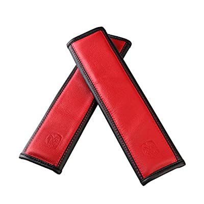 U&M 2 pcs Soft Leather Seat Belt Covers, Seatbelt Shoulder Strap Pad for Car, Truck, SUV, Airplane,Carmera Backpack Straps - Genuine Leather (Red): Automotive