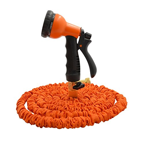 Seedan Flexible Garden Water Hose with Durable Double Latex Expandable Kink-free Hose Pipe and Fits Common Style Spiral Hose Fittings + Professional Spray Gun Orange 25FT (Commercial Water Hose 100ft compare prices)