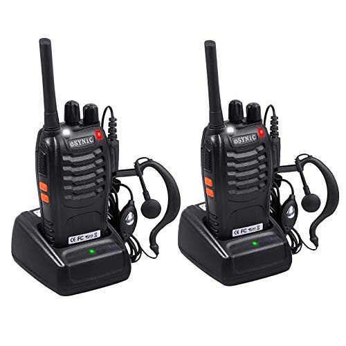 eSynic Rechargeable Walkie Talkies with Earpieces 2pcs Long Range Two-Way Radios 16 Channel UHF USB Cable Charging Walky Talky Handheld Transceiver with Flashlight (Best Way To Ship A Bike Cross Country)