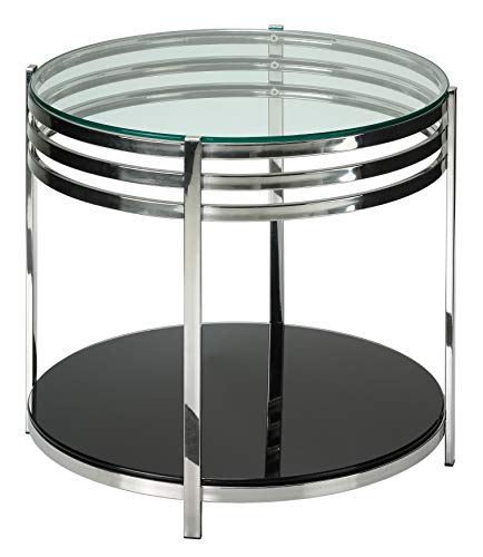 (Cortesi Home Lavia Contemporary Two Tier Round Glass End Table)