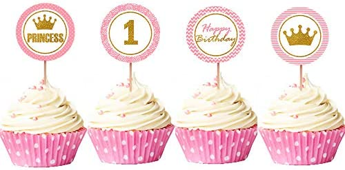 Jevenis 24 Pcs Little Princess Cupcake Toppers Princess Cake