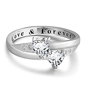 2 Simulated Birthstones Promise Rings for Her Love Forever Engraved Choose Your Color Engagement Rings (Apr-Apr, 6)