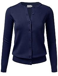 FLORIA Women Gem Button Crew Neck Long Sleeve Soft Knit Cardigan Sweater NAVY 1XL