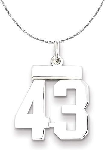 Sterling Silver Medium Polished Number 44 Charm Pendant