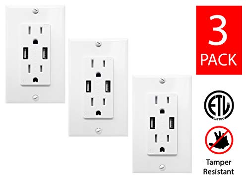 - Teklectric 4.2A High Speed Dual USB Charger Outlet 15A Tamper Resistant Receptacle & Free Wall Plate, White - 3 Pack