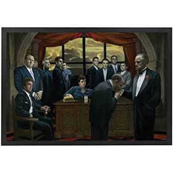 professionally framed gangsters collage godfather goodfellas scarface sopranos movie poster print color 24x36 with solid black wood frame
