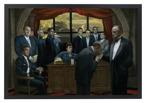 Professionally Framed Gangsters Collage Godfather Goodfellas Scarface Sopranos Movie Poster Print (Color) - 24x36 with Solid Black Wood Frame