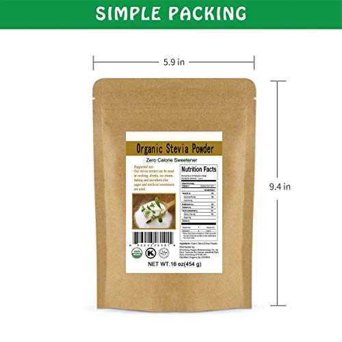 CCnature Organic Stevia Powder Extract Natural Sweetener Zero Calorie Sugar Substitute 16oz by CCnature (Image #3)