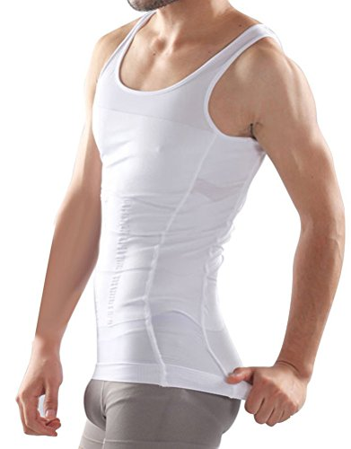 Shop Flash Athletic Seamless Compression Upper Body Slimming Tank Shirt for Men, White, X-Large