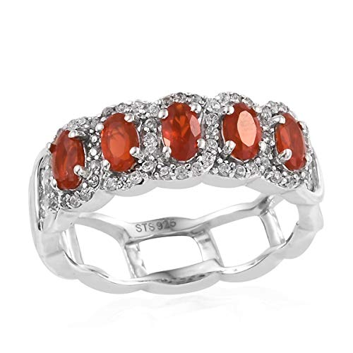- Fire Opal Zircon Band Ring 925 Sterling Silver Platinum Plated Jewelry for Women Size 9 Ct 1.1
