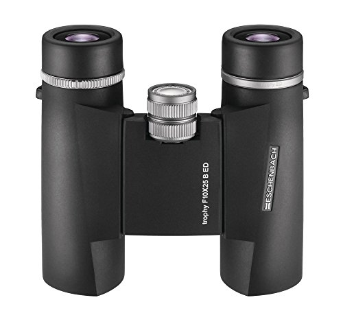Eschenbach Trophy F 10x25 ED Glass Compact Binoculars for Bird Watching for Adults Black