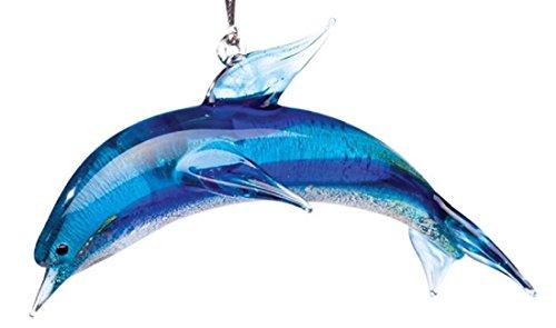 Glassdelights Blue Dolphin Glass Christmas Tree Ornament Ocean Sea Life New (Glass Dolphin Ornaments)