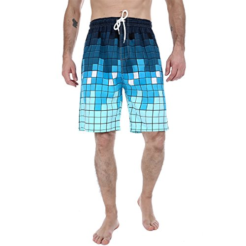 Sunin Men's Sports Summer Color Printing Quickdry Beach Board Shorts Plus Size (XXXL, Blue Grids)