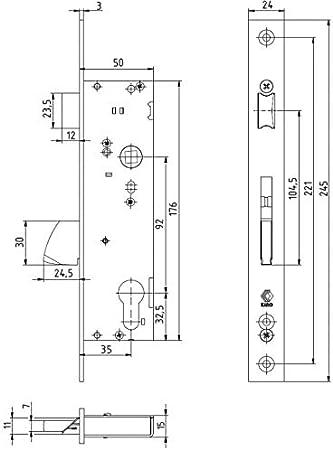 KOTARBAU serratura per telaio tubolare in acciaio inox dimensione mandrino 30//35 mm serratura per cilindro profilato sinistra//destra serratura per porta 92 mm