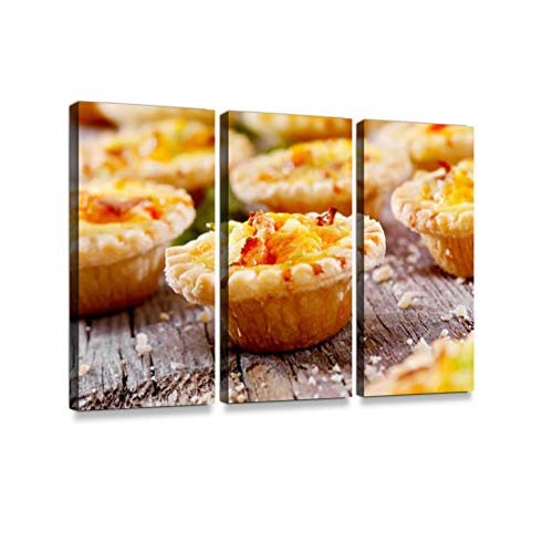 Mini Quiche with Bacon and Cheddar Cheese3 Pieces Print On Canvas Wall Artwork Modern Photography Home Decor Unique Pattern Stretched and Framed 3 Piece
