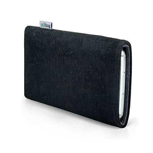 Stilbag Handyhülle VIGO für Apple iPhone 5S | Smartphone-Tasche Made in Germany | Kork anthrazit, Wollfilz grau