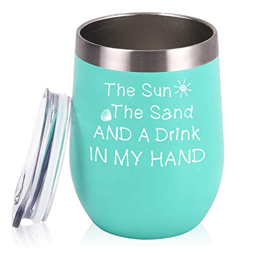 The Sun The Sand and A Drink In My Hand 12 oz Insulated Wine Tumbler for Beach, Lake or Pool Party, Stainless Steel Wine Tumbler with Lid, Funny Birthday Gifts for Friends, Mint