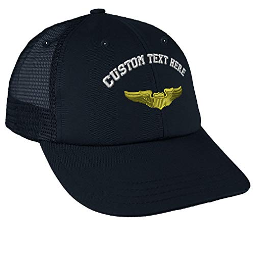 (Custom Snapback Baseball Cap Military Pilot Symbol Embroidery Design Cotton Mesh Hat Snaps Navy Personalized Text Here)