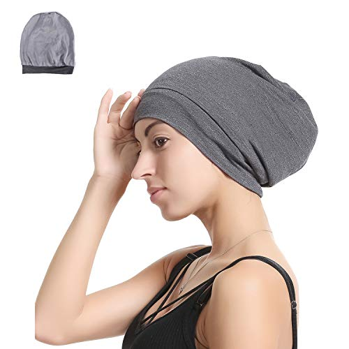 Slap Night Cap Sleep Hat - Grey Balck Women chemo cancer headwer Organic Bamboo Cotton Satin Silk Satun Satin lined Bonnet Slouchy Summer Hair Beanie For Women Lady Lightweight Light Jersey Chemo