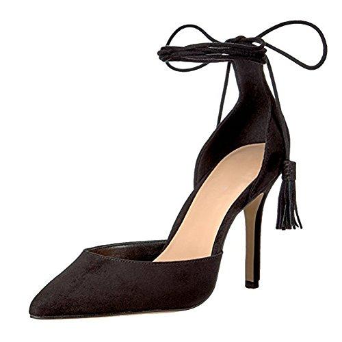 Damen Pumps Spitze Zehen High-Heel Stiletto Fellsamt Knöchelriemchen mit Anhänger Schwarz