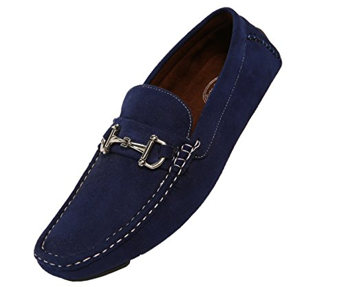Amali Mens Plush Microfiber Loafer Driving Shoe With Buckle Style (Navy Suede Driver Shoes)