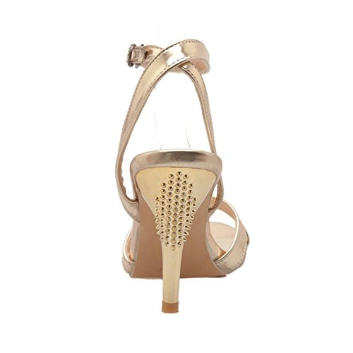 Gold TAOFFEN Ankle Fashion Strap Sandals Shoes 63 Women zaaZ1qPw