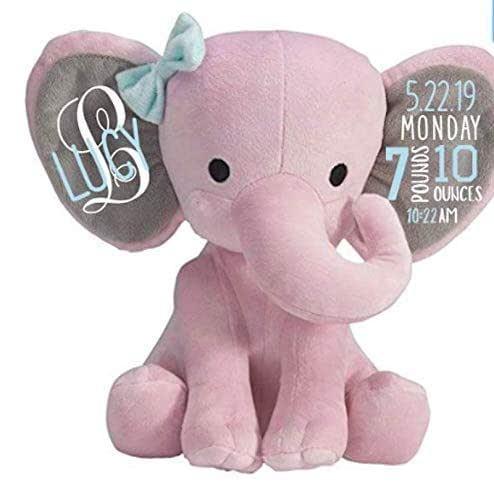 stuffed elephant announcement plush elephant baby birth announcement elephant