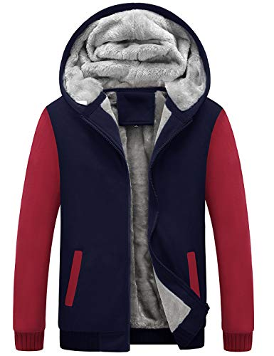Yeokou Men's Winter Thicken Fleece Sherpa Lined Zipper Hoodie Sweatshirt Jacket (Medium, Z Blue Red)
