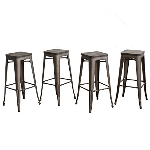 Outdoor Wood Finish Bar Stool - Buschman Set of Four Bronze Wooden Seat 30 inches Counter Height Tolix-Style Metal Bar Stools, Indoor/Outdoor, Stackable