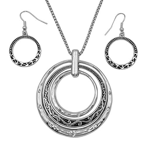 Gypsy Jewels 3 Ring Pendant Statement Necklace & Earring Set - Assorted Colors (Silver Tone Patterned)