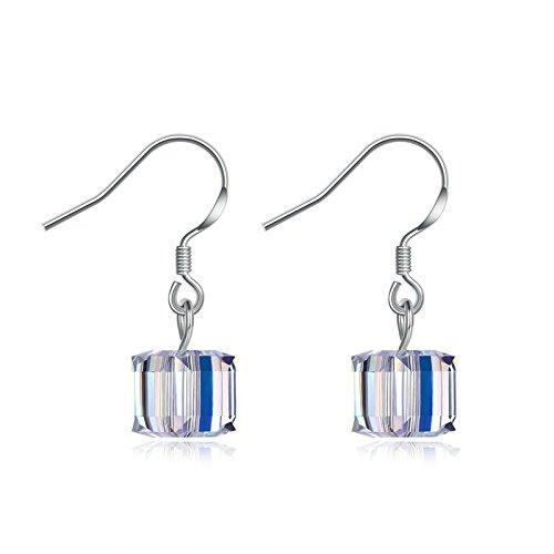 Aokarry Women S925 Silver Earrings Cube Clear Cubic Zirconia Fish Hook