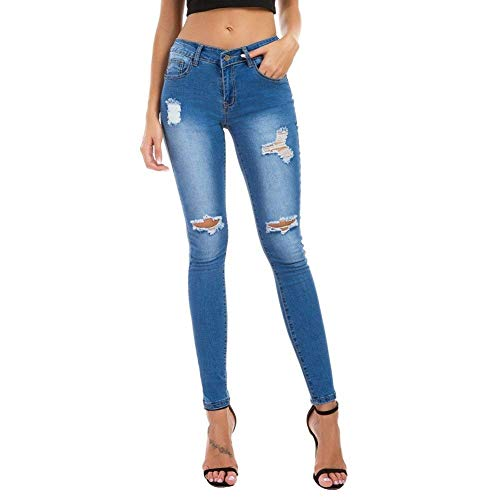 De Fit Lápiz Mujeres Las Battercake Cremallera Estirar Alta Pantalones Ajustados Rasgados Bolsillos Slim Azul Con Jeans Claro Agujeros Casuales Mezclilla Cintura AC15TwqS