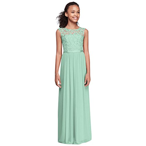 Cap Sleeve Lace and Mesh Long Girls Dress Style JB9479, Mint, 18]()