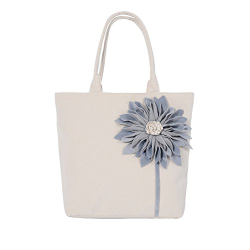 JWH Handmade Bag 3D Sunflower Packet Commute Bag Travel Shopping Work School Bag Cotton Canvas Bag Light Blue