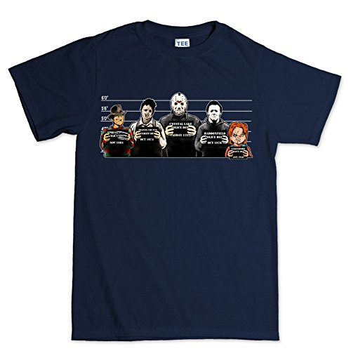 Customised_Perfection The Usual Horror Suspects Halloween T Shirt 2XL Navy Blue -