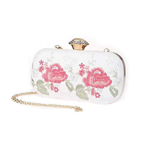 Bag Catene Hkduc Sposa Clutch National White Da Borse Vintage Ricamo Pu Donna Evening Bags zwPzHBpq