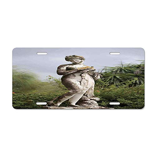 Sculptures Decor,Sculptured Figure among Greenery on the Grounds of the Achillion Palace Corfu Island,Green Beige Novelty License Plate Custom Decorative Front Plate Cover 4 Holes (12X 6)