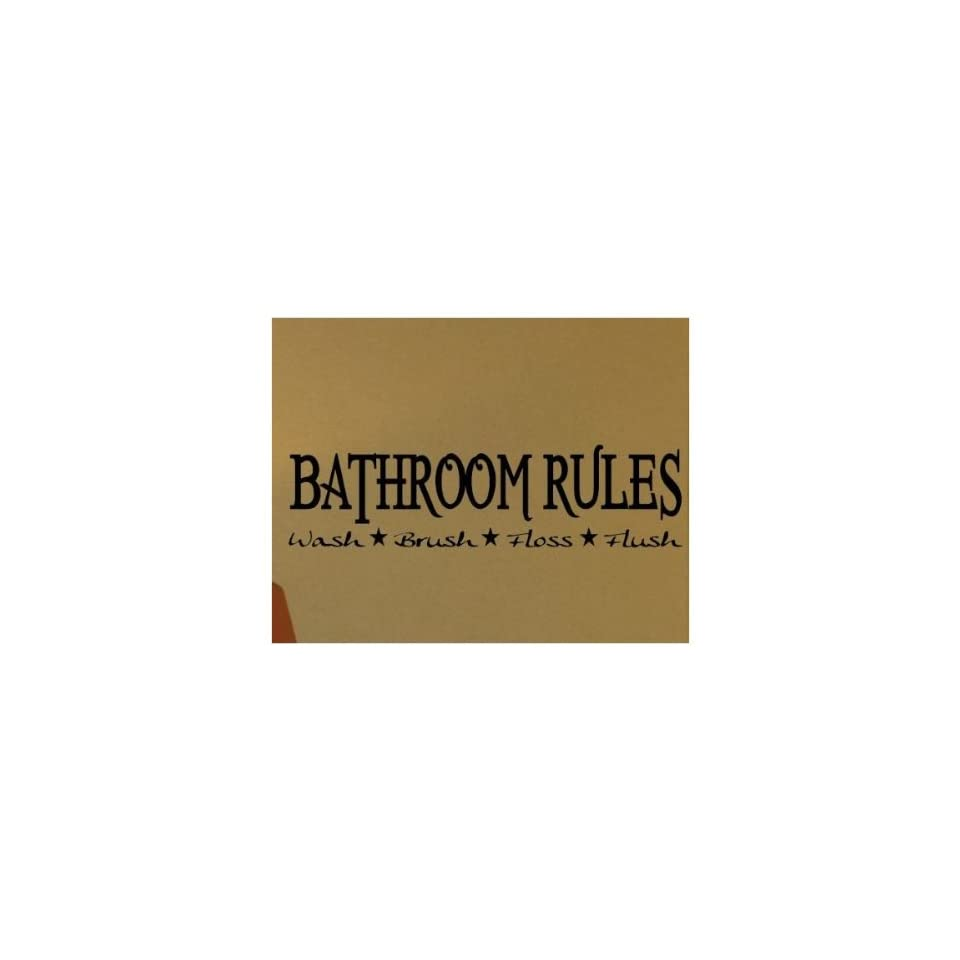 WallStickerUSA Medium BATHROOM RULES Wash Brush Floss Flush  Quote Saying Wall Sticker Decal Transfer Film 17x25