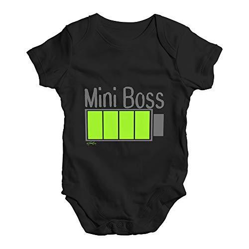 TWISTED ENVY Funny Infant Baby Bodysuit Onesie Mini Boss Full Energy Black 0-3 Months