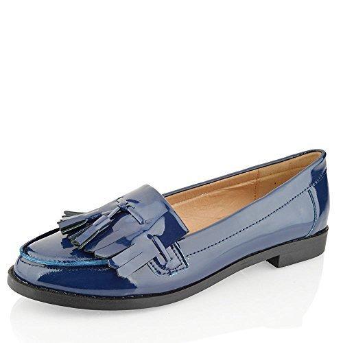 Mujer Chica Office con Flecos Mocasines Planos Casual Zapatos Colegio Talla - Azul Marino, 19 EU: Amazon.es: Zapatos y complementos