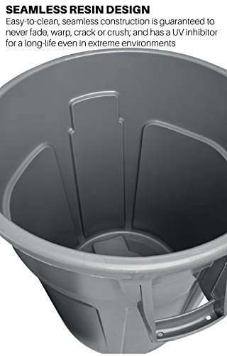 Rubbermaid Commercial Products FG264360GRAY BRUTE Heavy-Duty Round Trash/Garbage Can, 44-Gallon, Gray by Rubbermaid Commercial Products (Image #2)