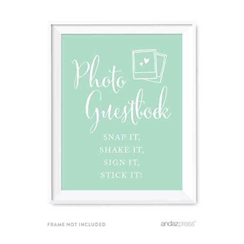 Andaz Press Wedding Party Signs, Mint Green, 8.5x11-inch, Photo Guestbook Snap It, Shake It, Sign It, Stick It, Polaroid Sign 1-Pack