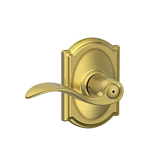 Schlage Accent Lever with Camelot Trim Bed and Bath Lock in Satin Brass from Schlage Lock Company